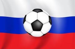 Реалистический флаг чертежа 3D бело-голуб-красный Российской Федерации России с футболом черно-белого цвета иллюстрация вектора