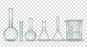 Реалистический химикат лаборатории и медицинский набор стеклоизделия бесплатная иллюстрация