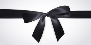 Реалистический черный смычок с лентой изолированной на белизне Элемент для подарков украшения, приветствия, праздники также векто иллюстрация штока