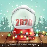 реалистический шарик снега 3d с текстом 2020 вектор иллюстрация штока