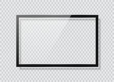 Реалистический экран ТВ Современная стильная панель LCD, тип СИД Модель-макет дисплея монитора большого компьютера Пустой шаблон  Стоковые Изображения