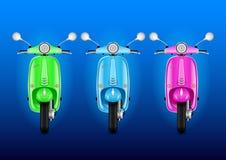 Реалистический электрический винтажный набор скутеров дизайна иллюстрация штока
