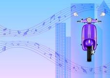 Реалистический электрический скутер против города, небоскребов и музыкальных примечаний иллюстрация штока