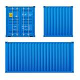 Реалистический яркий голубой набор грузового контейнера Концепция транспорта закрытый контейнер Фронт, задняя часть и sid бесплатная иллюстрация