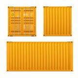 Реалистический яркий желтый набор грузового контейнера Концепция транспорта закрытый контейнер Фронт, задняя часть и sid иллюстрация вектора