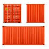 Реалистический яркий красный набор грузового контейнера Концепция транспорта закрытый контейнер Фронт, задняя часть и sid бесплатная иллюстрация