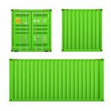 Реалистический яркий ый-зелен набор грузового контейнера Концепция транспорта Закрытый контейнер Фронт, задняя часть и sid бесплатная иллюстрация