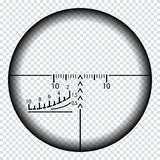 Реалистическое визирование снайпера с метками измерения Шаблон объема снайпера изолированный на прозрачной предпосылке иллюстрация вектора