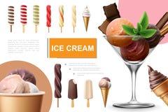 Реалистическое собрание мороженого бесплатная иллюстрация