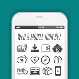 Реалистическое собрание смартфона мобильного телефона со значками на экране EPS10 бесплатная иллюстрация