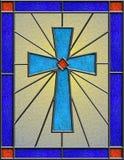 Реалистическое цветное стекло кельтского креста Стоковые Изображения