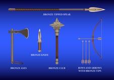 Реалистическое 3d установило бронзовое воюя оружие бесплатная иллюстрация
