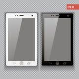 Реалистическое iphon собрания smartphone мобильного телефона модель-макеты при пустой изолированный экран для элемента печатать и Стоковое Изображение RF