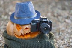 Реальная оранжевая тыква хеллоуина с высекать стоковые фото