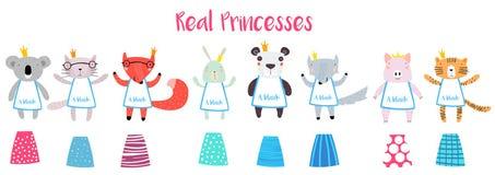 Реальные принцессы Животное Характер Конструктор иллюстрация штока
