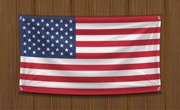 Реальный флаг Америки на доске древесины стены бесплатная иллюстрация