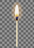 Реалистическая горящая спичка на прозрачной checkered предпосылке также вектор иллюстрации притяжки corel Стоковые Фотографии RF