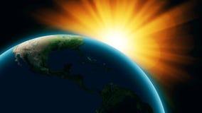 Реалистическая земля планеты с sinrise от космоса иллюстрация вектора