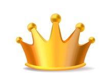 Реалистическая иллюстрация вектора сияющей золотой кроны i короля металла Стоковое Изображение