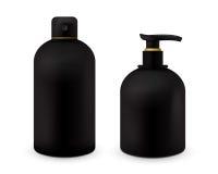 Реалистическая косметическая насмешка бутылки вверх установила пакет на белой предпосылке Косметический шаблон бренда Пакет шампу Стоковые Фото
