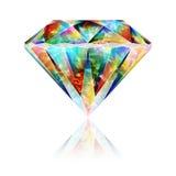 Реалистическая красочная радужная драгоценная камень Кристл Стоковое Изображение