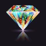 Реалистическая красочная радужная драгоценная камень Кристл Стоковые Изображения