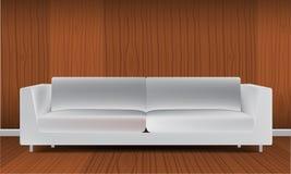 Реалистическая классическая оранжевая софа изолированная на белой иллюстрации вектора предпосылки Стоковая Фотография