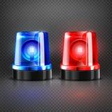 Реалистическая машина скорой помощи полиции проблескивая красные и голубые сирены изолировала иллюстрацию вектора Стоковое Изображение RF