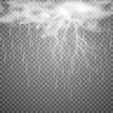 Реалистическая молния вектора с дождем и облаком на checkered предпосылке Яркая, электрическая молния Стоковое Изображение RF