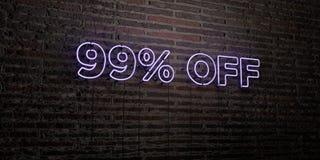 99% - реалистическая неоновая вывеска на предпосылке кирпичной стены - 3D представило изображение неизрасходованного запаса корол Стоковые Изображения RF
