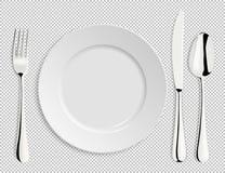 Реалистическая пустая плита вектора при изолированные ложка, нож и вилка Шаблон дизайна в EPS10 иллюстрация вектора