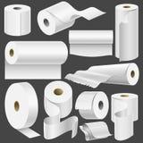 Реалистическая упаковка 3d пробела иллюстрации вектора насмешки шаблона крена туалетной бумаги и полотенца кухни вверх установлен иллюстрация вектора
