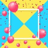 Реалистические воздушные шары празднуют праздничный дизайн партии праздника с рамкой confetti, ленты и квадрата на пестротканой п Стоковое фото RF