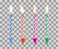 Реалистические горящие свечи именниного пирога установили изолированный на прозрачной checkered предпосылке также вектор иллюстра Стоковая Фотография