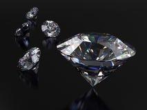 Реалистические диаманты на темной предпосылке с каустическим и светлым отражением Стоковое Фото