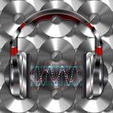 Реалистические наушники с волнами музыки Стоковая Фотография