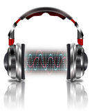 Реалистические наушники с волнами музыки Стоковые Фото