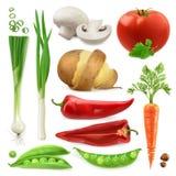 Реалистические овощи Изолированный комплект значка вектора 3d Стоковое фото RF