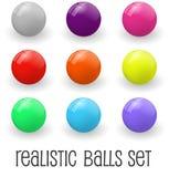 Реалистические лоснистые сферы или комплект кнопки бесплатная иллюстрация