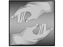Реалистические руки около, который нужно касаться стоковое фото rf