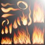 Реалистические установленные пламена огня 10 eps Стоковые Фотографии RF