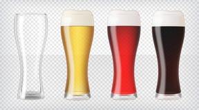 Реалистические установленные стекла пива иллюстрация штока