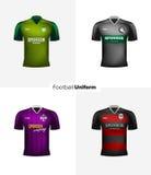 Реалистические формы футбола вектора Клеймя модель-макет Одежда футбольной команды Вид спереди иллюстрация вектора
