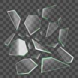Реалистические черепки сломленного стекла вектор иллюстрация штока