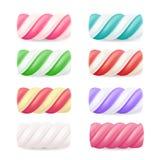 Реалистический вектор конфеты зефира Установленные красочные переплетенные зефиры иллюстрация штока