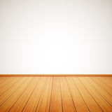Реалистический деревянный пол и белая стена Стоковые Фотографии RF
