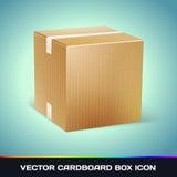 Реалистический значок картонной коробки Стоковые Изображения