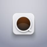 Реалистический значок кофейной чашки для сети или применения. бесплатная иллюстрация