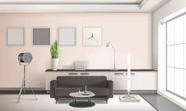 Реалистический дизайн 3D живущей комнаты внутренний иллюстрация вектора