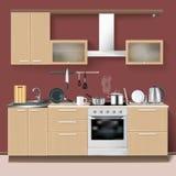 Реалистический интерьер кухни бесплатная иллюстрация